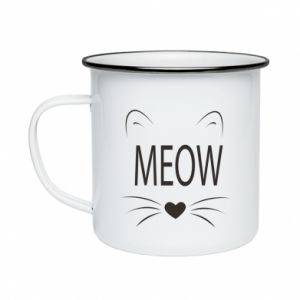 Enameled mug Fluffy Meow