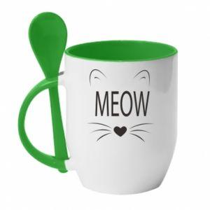 Kubek z ceramiczną łyżeczką Meow Fluffy