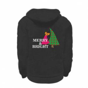 Kid's zipped hoodie % print% Merry and Bright