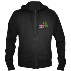 Men's zip up hoodie Merry and Bright
