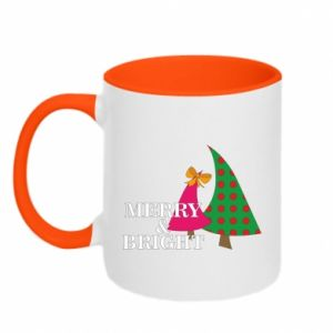 Two-toned mug Merry and Bright