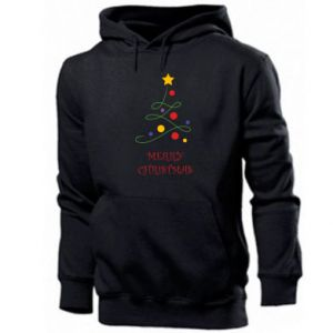Men's hoodie Merry Christmas, christmas tree