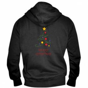 Men's zip up hoodie Merry Christmas, christmas tree