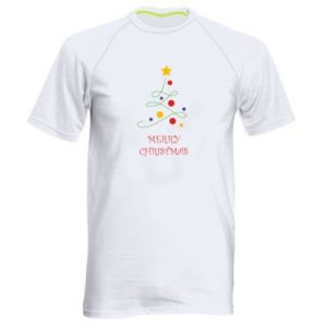 Men's sports t-shirt Merry Christmas, christmas tree