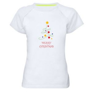 Women's sports t-shirt Merry Christmas, christmas tree