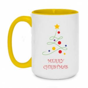 Two-toned mug 450ml Merry Christmas, christmas tree