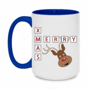 Two-toned mug 450ml Merry Xmas Moose