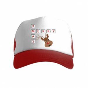 Czapka trucker dziecięca Merry Xmas Moose
