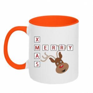 Two-toned mug Merry Xmas Moose