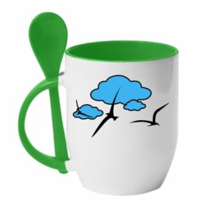 Mug with ceramic spoon Seagulls