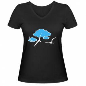 Women's V-neck t-shirt Seagulls