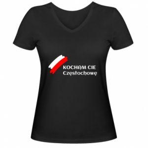 Women's V-neck t-shirt city Czestochowa - PrintSalon