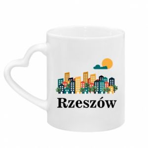 Mug with heart shaped handle Rzeszow city