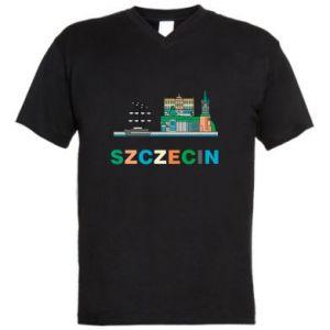 Men's V-neck t-shirt City Szczecin 2