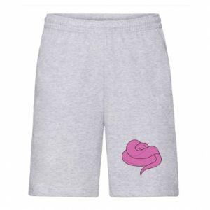 Men's shorts Cute pink snake - PrintSalon