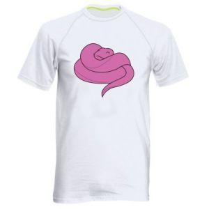Men's sports t-shirt Cute pink snake - PrintSalon