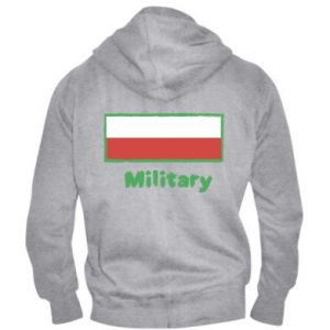 Męska bluza z kapturem na zamek Military i flaga Polski