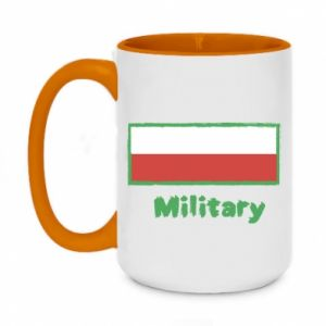 Two-toned mug 450ml Military and the flag of Poland