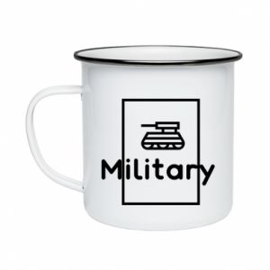 Enameled mug Military with a tank