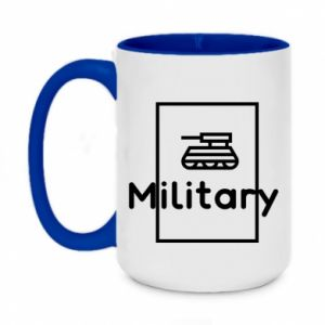 Two-toned mug 450ml Military with a tank