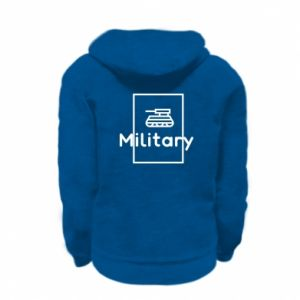Kid's zipped hoodie % print% Military with a tank