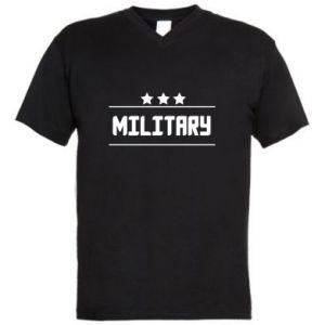 Męska koszulka V-neck Military with stars