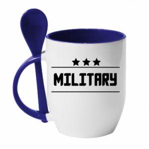 Kubek z ceramiczną łyżeczką Military with stars