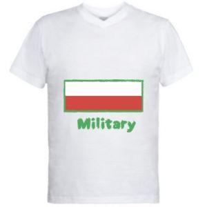 Męska koszulka V-neck Military i flaga Polski