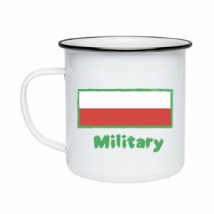 Enameled mug Military and the flag of Poland