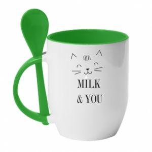 Kubek z ceramiczną łyżeczką Milk and you