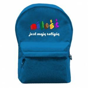 Plecak z przednią kieszenią Miłość jest moją religią