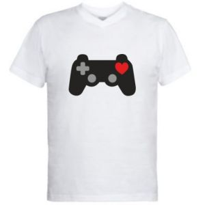 Men's V-neck t-shirt Love is a game