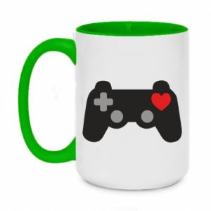 Two-toned mug 450ml Love is a game