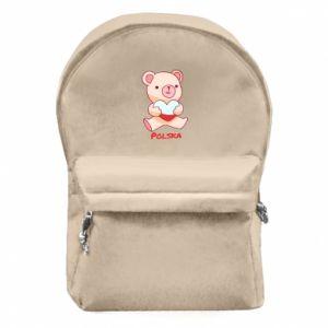 Plecak z przednią kieszenią Miś Polska