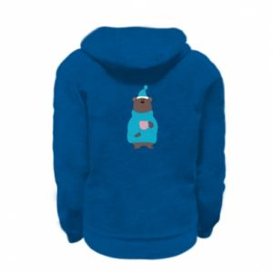 Kid's zipped hoodie % print% Teddy bear in pajamas