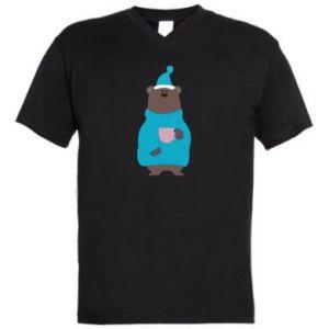Męska koszulka V-neck Miś w piżamie