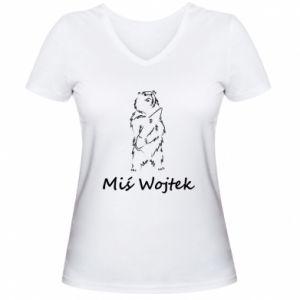 Women's V-neck t-shirt Wojtek the Bear