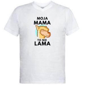 Męska koszulka V-neck Moja mama to nie lama