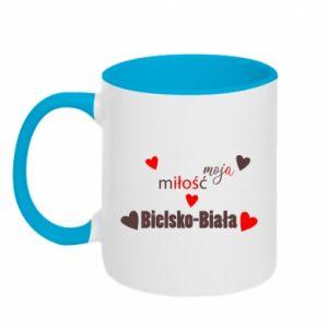 Kubek dwukolorowy Moja miłość to Bielsko-Biała - PrintSalon