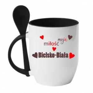 Kubek z ceramiczną łyżeczką Moja miłość to Bielsko-Biała - PrintSalon