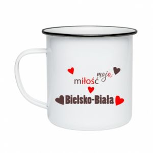 Enameled mug My love is Bielsko-Biala