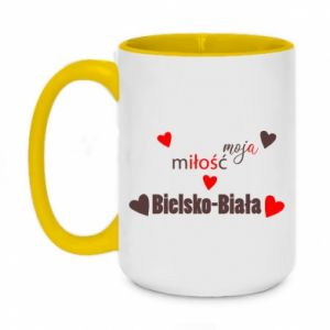 Two-toned mug 450ml My love is Bielsko-Biala