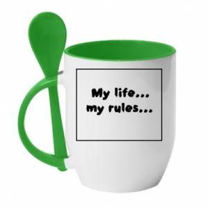 Kubek z ceramiczną łyżeczką My life... my rules... - PrintSalon