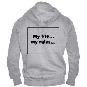 Męska bluza z kapturem na zamek My life... my rules... - PrintSalon