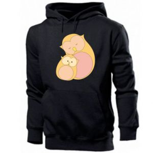 Men's hoodie Mom owl and baby owl
