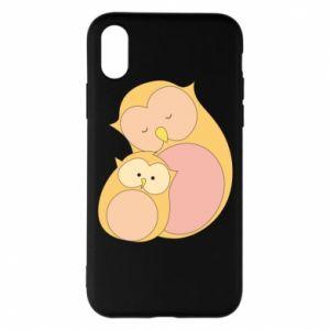 Etui na iPhone X/Xs Mom owl and baby owl