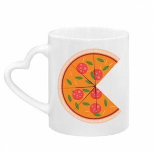 Kubek z uchwytem w kształcie serca Mommy pizza