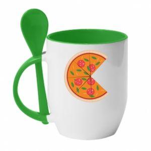 Mug with ceramic spoon Mommy pizza - PrintSalon