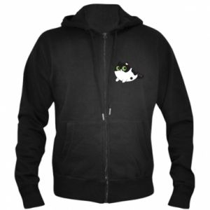Men's zip up hoodie Monochrome mermaid cat - PrintSalon