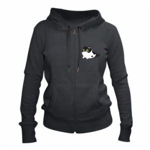 Women's zip up hoodies Monochrome mermaid cat - PrintSalon
